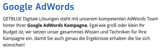 Google AdWords aus  Dahn