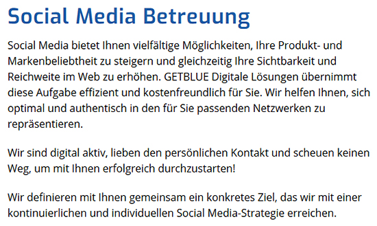 Social Media Strategie für  Vordorf